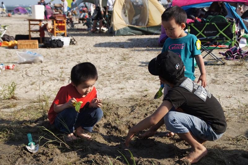 森道市場2015 砂浜で遊ぶこどもたち